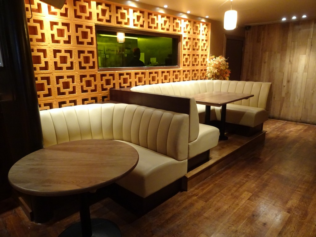 Fluted Back Booth Seating Orange Rooms Southampton