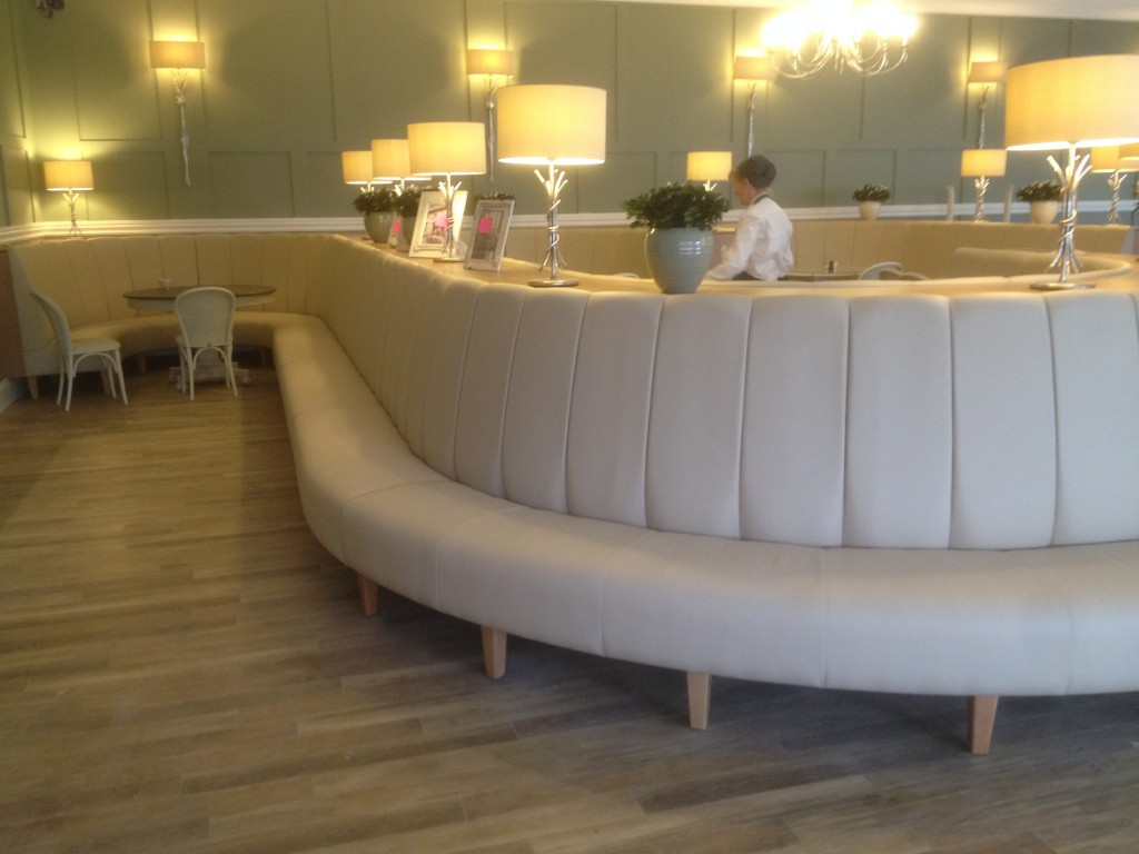 Fluted banquette seating at a garden centre in fleet