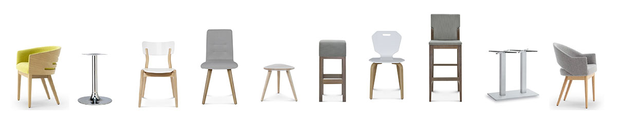 a selection of loose chairs that Atlas supplies for restaurants, cafes and bars