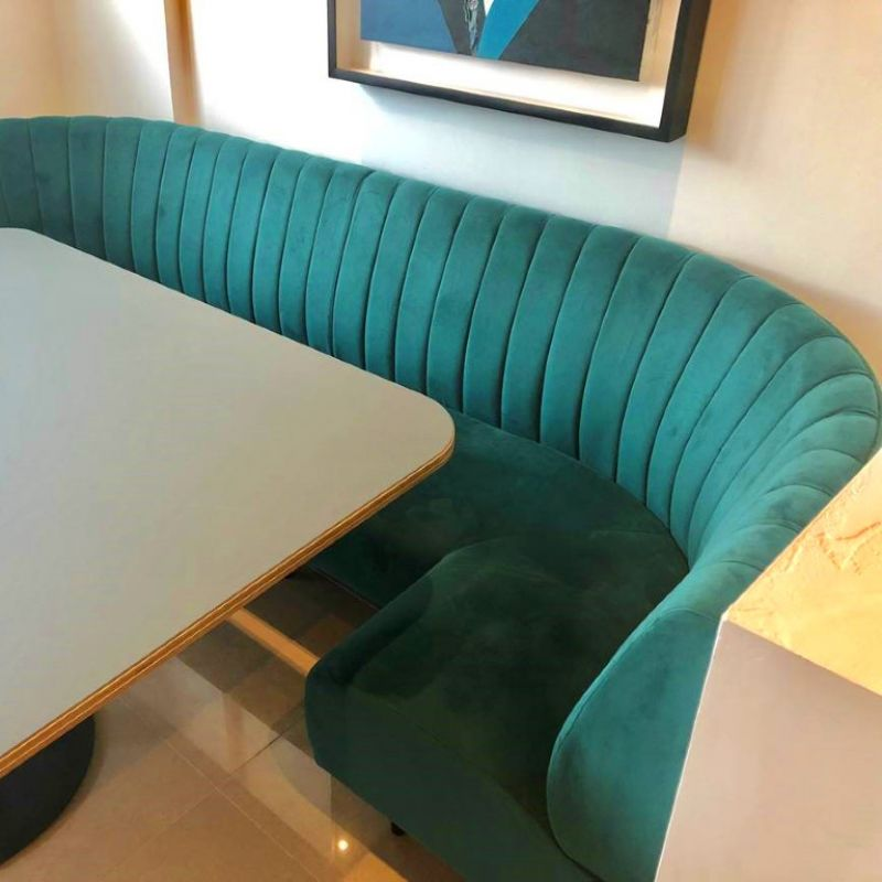 Curved Kitchen Fluted Booth Seating